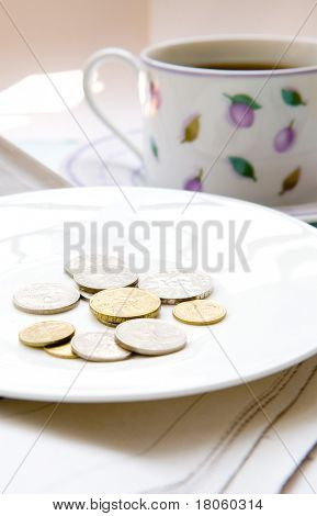 Loose change in white plate next to cup of coffee.