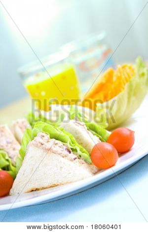Plateful of tuna sandwich served with crisp and sweet cherry tomatoes.