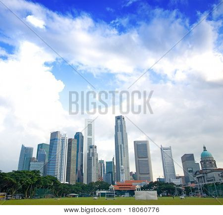Singapore tall skyscrapers in the business district