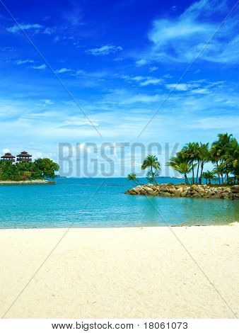 Beautiful secluded lagoon beach in the tropics