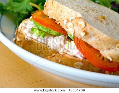 Healthy tuna with mayonnaise in crusty brown bread with tomatoes, cucumber and salad on side
