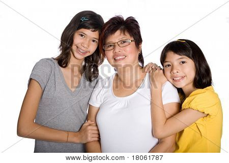Beautiful family with Chinese mom and two daughters from mix parentage.