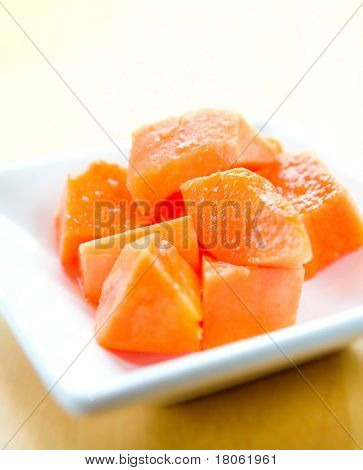 Serving of delicious and healthy fresh papaya