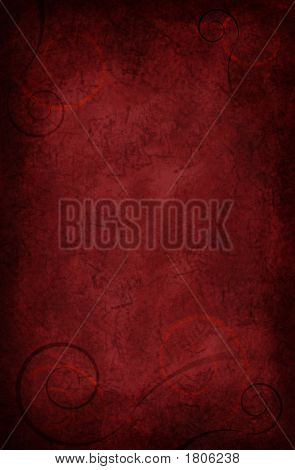 Deep Velvety Red Textured Background With Scrolls