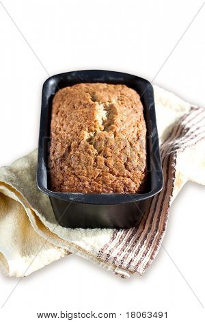 Freshly baked banana bread, isolated