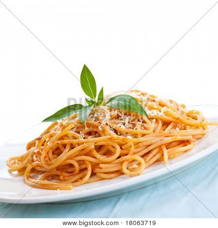 Isolated plate of spaghetti in tomato sauce