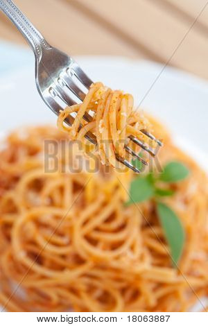 Outdoor setting, a plate of spaghetti
