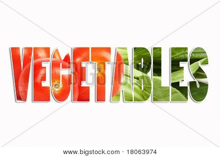 Background of healthy oriental bok choi vegetable  and tomatoes with the text word ' Vegetables'