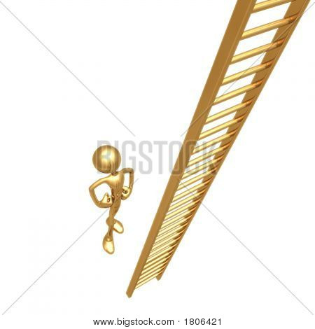 3D Golden Man With Hands On Hips Staring Up Towards The Top Of A Gold Ladder