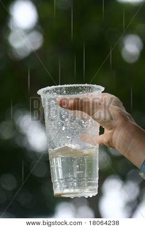 Hand eines kleinen Kindes mit eine Kunststoff-Schale, Sammeln von Regenwasser.