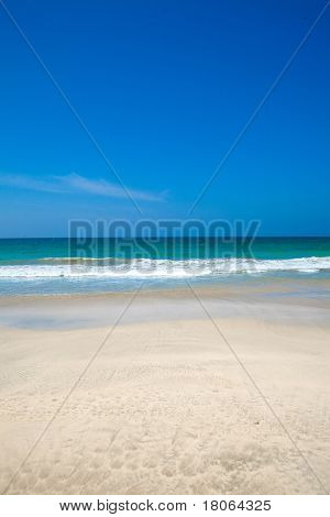 Beautiful vast ocean scape of crystal clear blue waters of the Andaman sea
