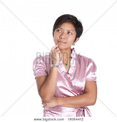 Young Asian businesswoman in a thinking pose, over white background.
