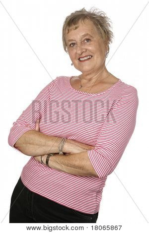 Beautiful caucasian female senior in pink top
