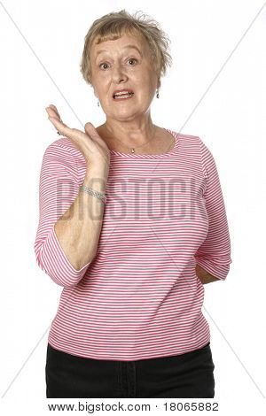 Beautiful caucasian female senior in pink top asking and wondering