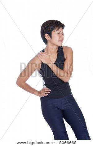 Young woman suffering pain on shoulder