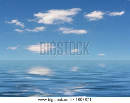 Blue Sky And Water Reflections