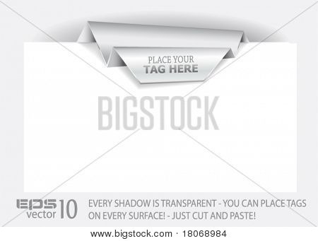 Origami Paper tag with TRANSPARENT shadows. You can place it on every surface!