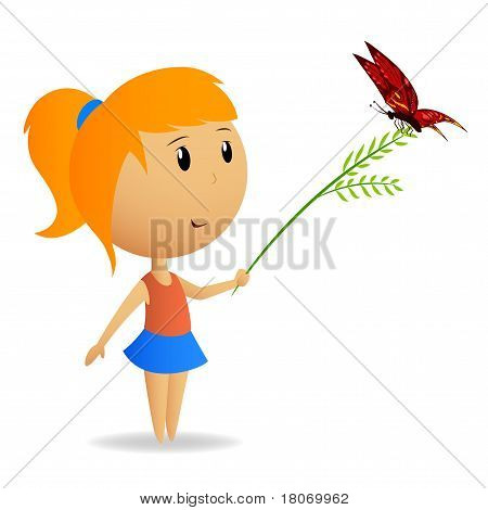 Cute Little Girl With Green Branch With Butterfly