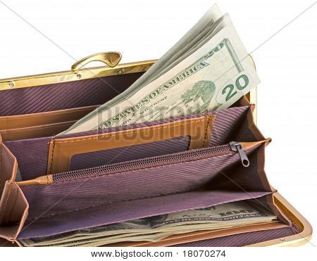 Women's Open Wallet With Banknotes