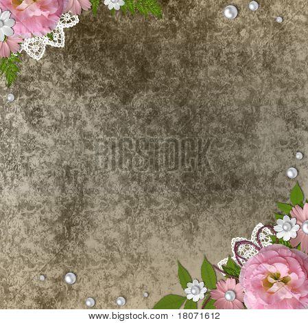 mit Blumen und Spitze über Beige Grunge hintergrund jahrgang Rahmen
