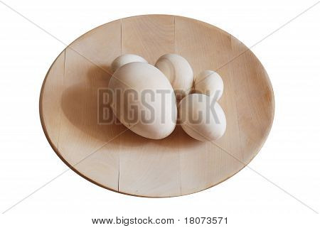 Turned Wooden Blank Eggs On The Dish