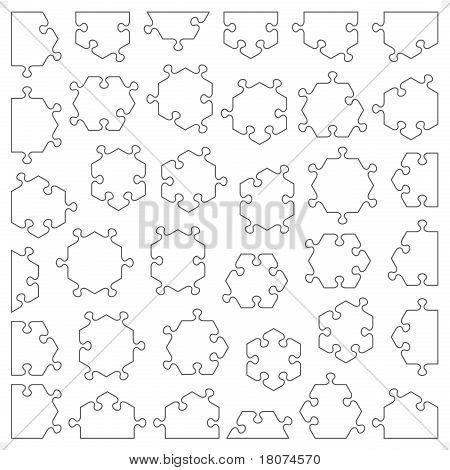 Juego de 36 piezas de puzzle hexagonal