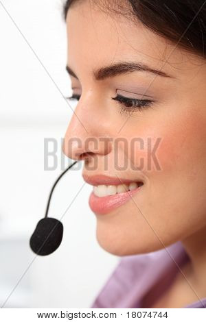 Profile of receptionist and headset