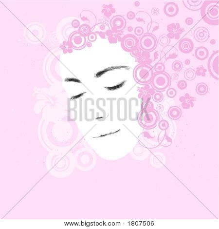 Illustration Of A Young Woman'S Face, Beauty Concept