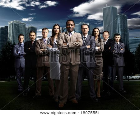 International business team over modern urban background