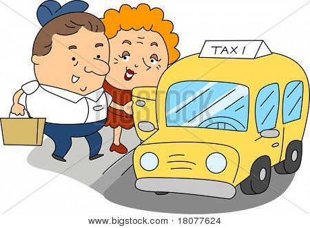 Illustration of a Taxi Driver at Work