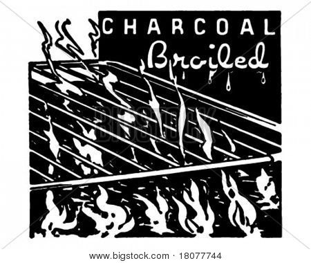 Charcoal Broiled - Retro Ad Art Banner