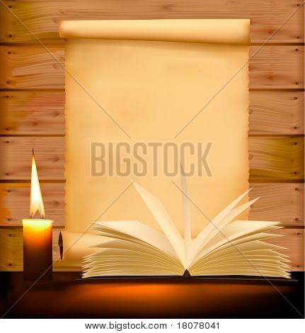 Old paper, candle and open book on wood background. Vector illustration.