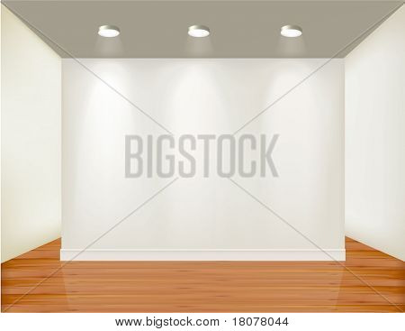 Empty frame on wall with spot lights and wood background. Vector illustration.