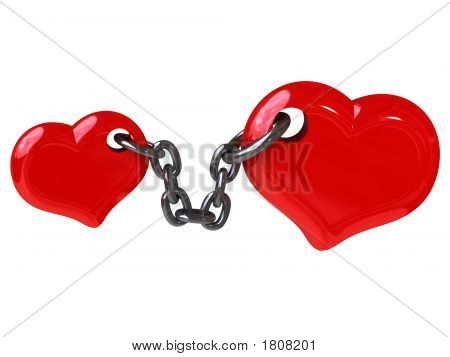 Two Hearts Fixed By Chain