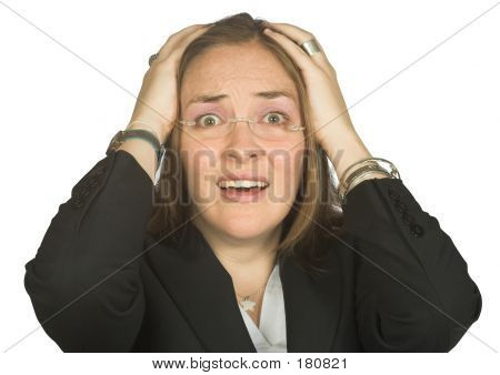 Astonished Business Woman With Hands On Head