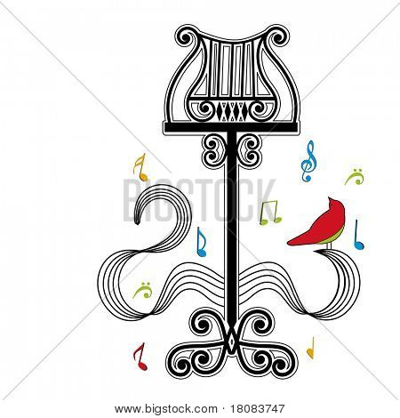Antique musical note stand with bird and musical notes