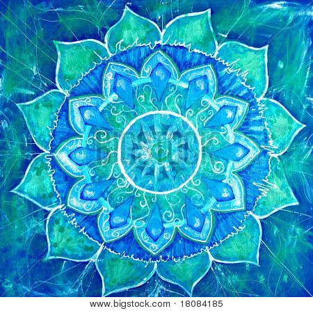 Abstract Blue Painted Picture With Circle Pattern, Mandala Of Vishuddha Chakra