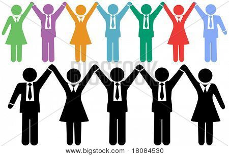 Row of business people symbols holding hands raise arms to celebrate