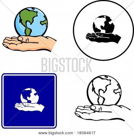 mundo en mano ilustración signo y símbolo