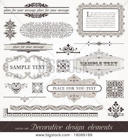 Vector conjunto de elementos de decoración de página recargado: fronteras, banner, divisores, adornos y patrones