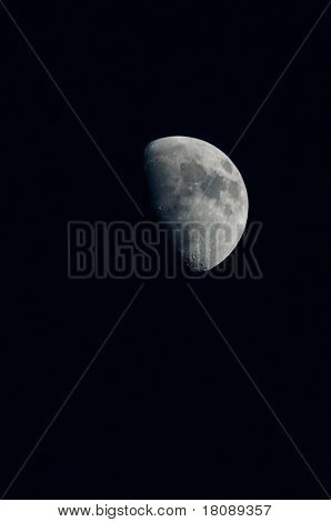 Moon Waxing Gibbous On Night Sky