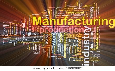 Background concept word cloud illustration of manufacturing glowing light