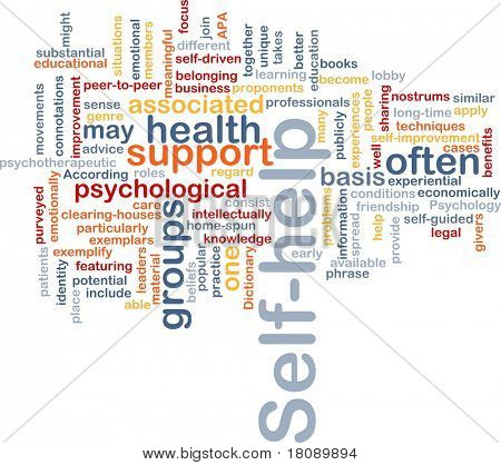 Background concept word cloud illustration of self-help