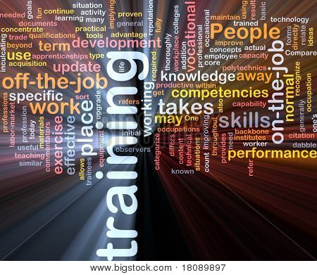 Background concept word cloud illustration of training glowing light