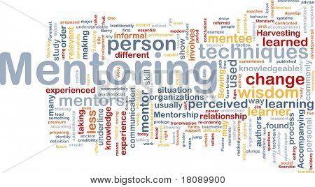 Wort-Wolke-Abbildung für die Hintergrund-Konzept des mentoring