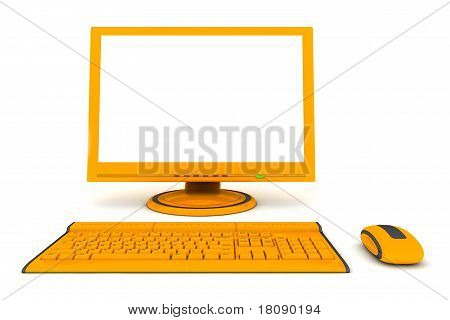 Modern Work Desk With Screen, Keyboard And Mouse - Orange And Black