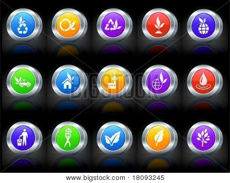 Ecology Icon on Button with Metallic Rim Collection Original Illustration