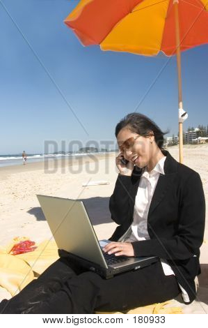 Businesswoman At Beach