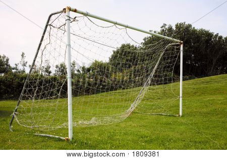 Park Football Pitch Goal Posts And Net.