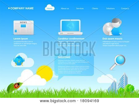 100% vector. 2011 modern website eco friendly business / cartoon stylish template. Ready to use webpage with logo, navigation, icons, buttons and other interface elements. Unique icons, unified style